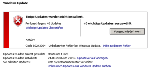 Windows Update Fehler Code 80243004