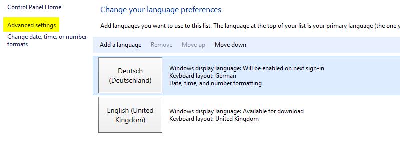 Sprachpakete installieren - Advanced settings