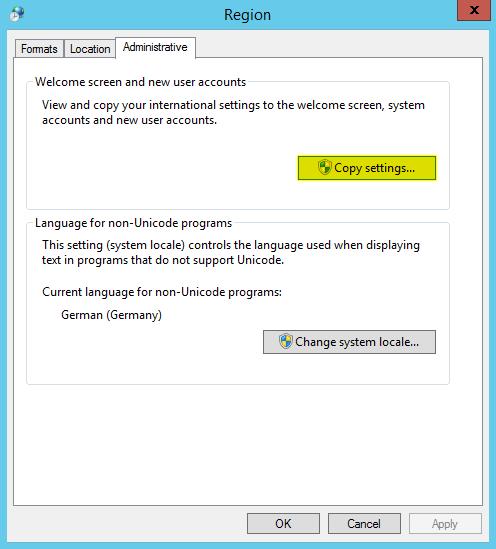Sprachpakete installieren - Copy settings