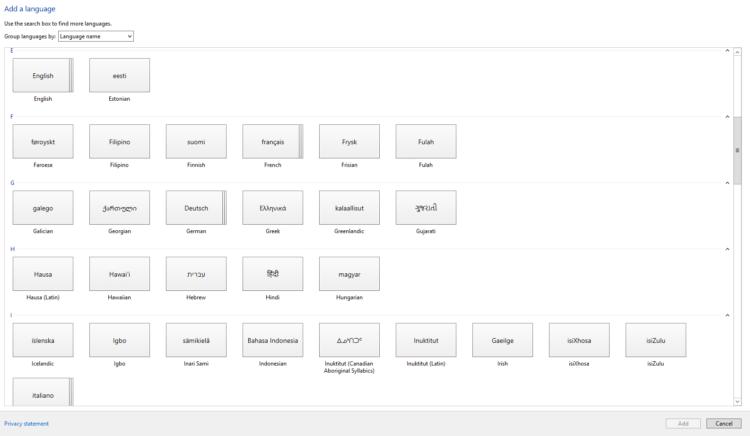 Sprachpakete installieren - Übersicht der verfügbaren Sprachen