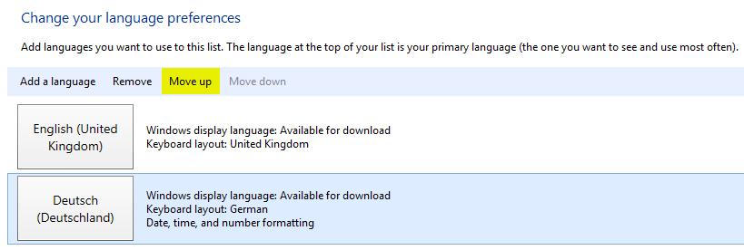 Sprachpakete installieren - Move up