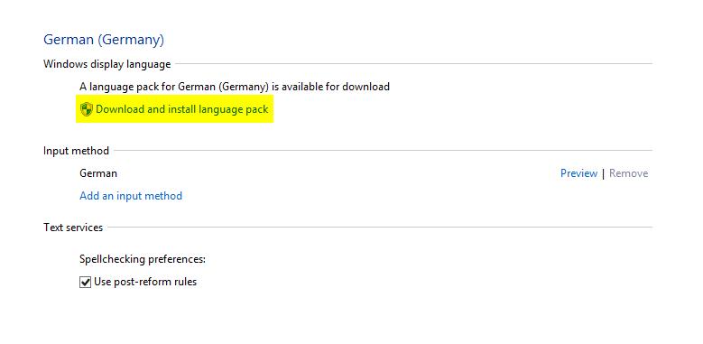 Sprachpakete installieren - Installation des Sprachpakets