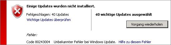 Windows Update Fehlercode 80243004