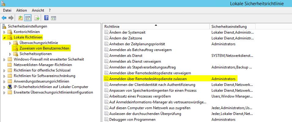 Anmeldung über Remotedesktopdienste nicht möglich - Lokale Richtlinie Zuweisen von Benutzerrechten Anmelden über Remotedesktopdienste zulassen
