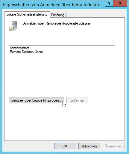 Anmeldung über Remotedesktopdienste nicht möglich - Eigenschaften von Anmelden über Remotedesktopdienste zulassen