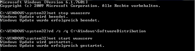 Windows Update Cache leeren - Kommandozeile