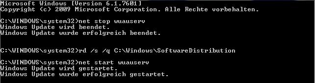 Windows Update Cache leeren - Kommandozeile