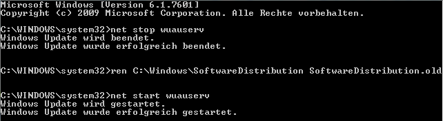 Windows Update Cache leeren - Kommandozeile umbenennen statt loeschen