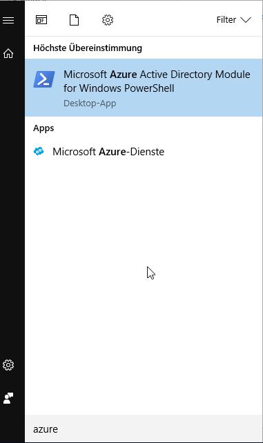 Microsoft Azure Active Directory Module for Windows PowerShell im Startmenü