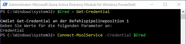 Mit den gespeicherten Anmeldedaten über das cmdlet Connect-MsolService -Credential $Cred eine Verbindung zu Office 365 herstellen