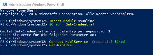 """Über das cmdlet Import-Module MsOnline kann auch über eine """"normale"""" PowerShell eine Verbindung zu Office 365 hergestellt werden"""