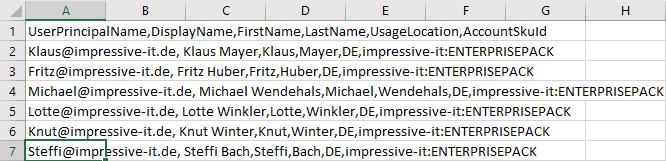Durch Kommata getrennt CSV-Datei für den Import mehrerer Benutzer in Office 365 per PowerShell