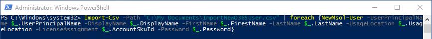 Syntax um Benutzer mit vorgegebenem Kennwort per PowerShell in Office 365 anzulegen