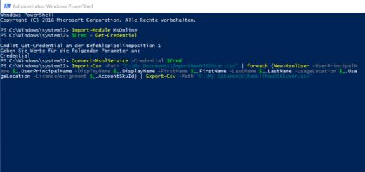 Office 365: Benutzer mit der PowerShell anlegen