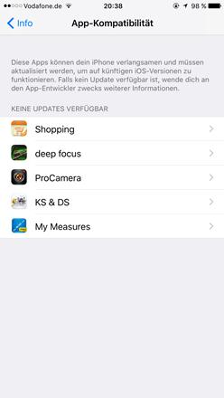 keine aktualisierung der apps