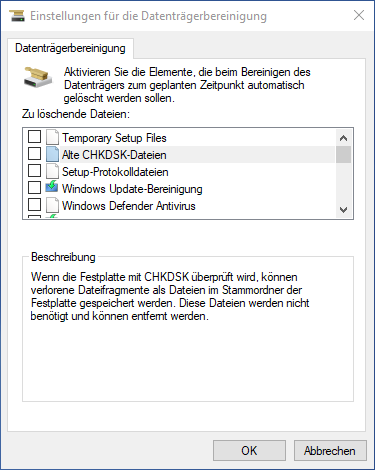 Datenträgerbereinigung in Windows 10 - Erweiterte Ansicht