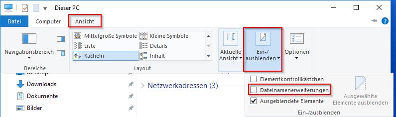 Dateinamenerweiterung aktivieren