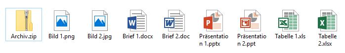 Dateien mit eingeblendeter Dateiendung