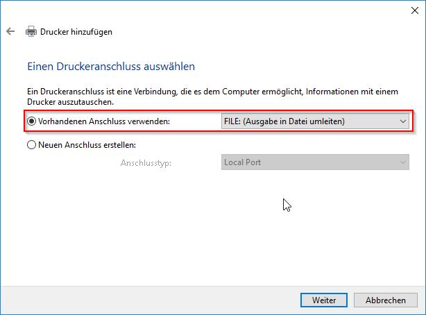 Vorhandenen Anschluss verwenden - FILE: Ausgabe in Datei