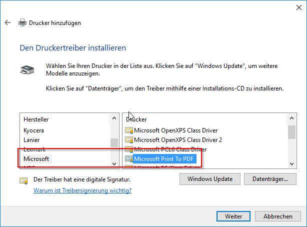 Microsoft Print To PDF als Treiber auswählen