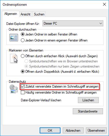 Zuletzt verwendete Dateien im Schnellzugriff anzeigen
