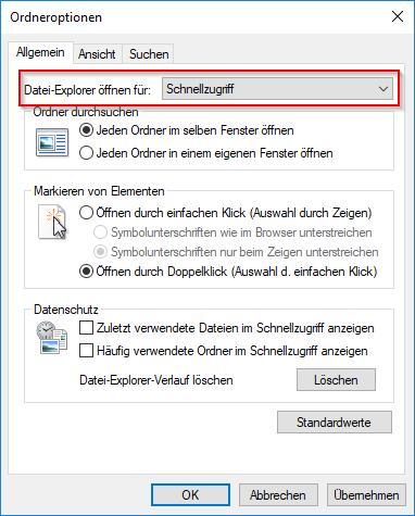 Datei-Explorer öffnen für: Schnellzugriff