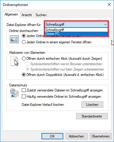 Datei-Explorer öffnen für: Dropdown-Menü