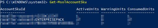 Cmdlet zum Anzeigen der AccountSku