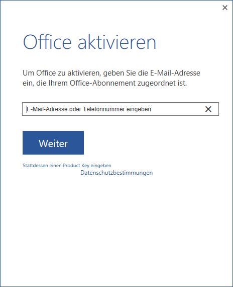 Dialog um Office 2013 zu aktivieren