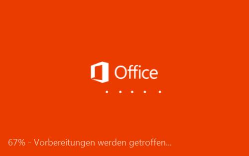 Dialog dass Office 2013 nun installiert wird