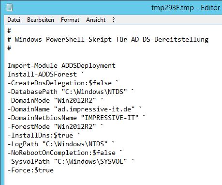 PowerShell-Befehl sowie Einstellungen um weitere Server zum Domain Controller heraufzustufen
