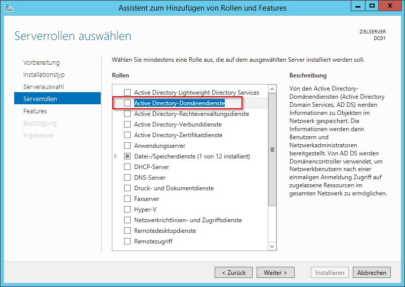 Active Directory-Domänendienste auswählen