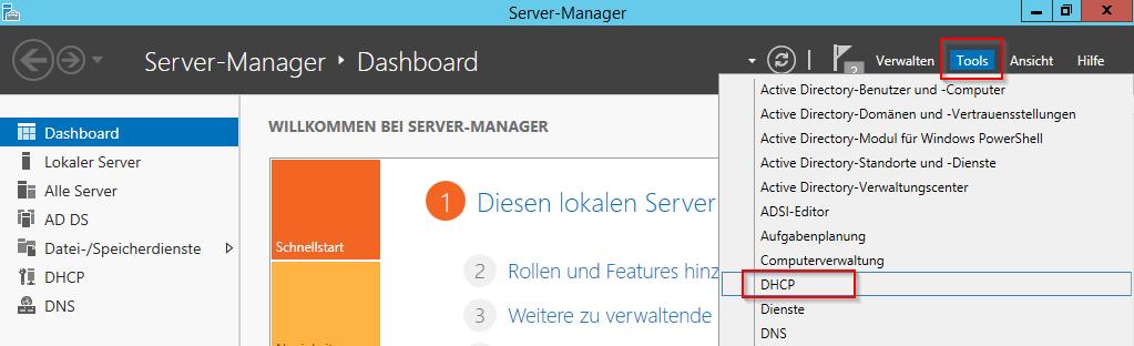 DHCP im Server-Manager öffnen