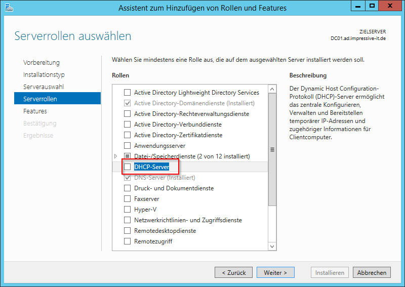 DHCP-Server als Rolle auswählen