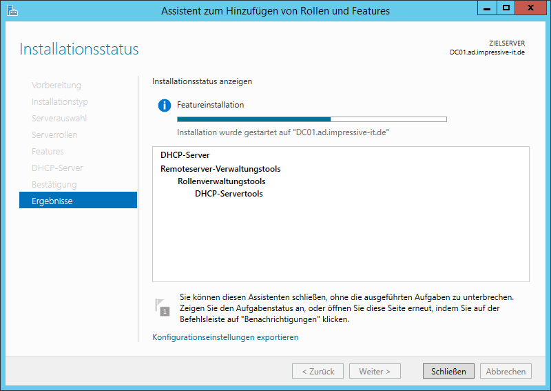 Installation der Rollen und Features
