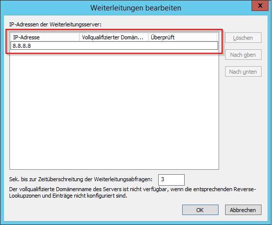IP-Adresse des Weiterleitungsservers angeben