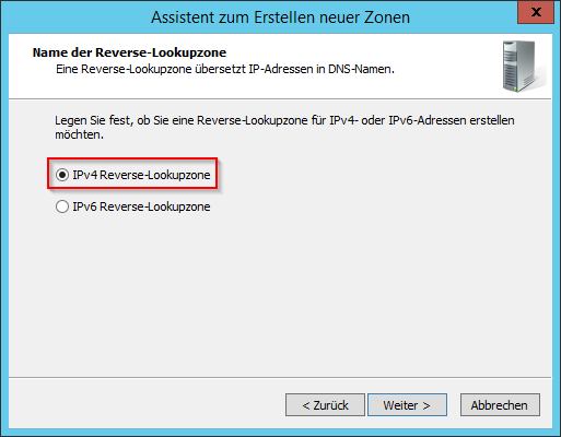 IPv4 Reverse-Lookupzone erstellen