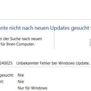 Windows Update Fehlercode 80240025