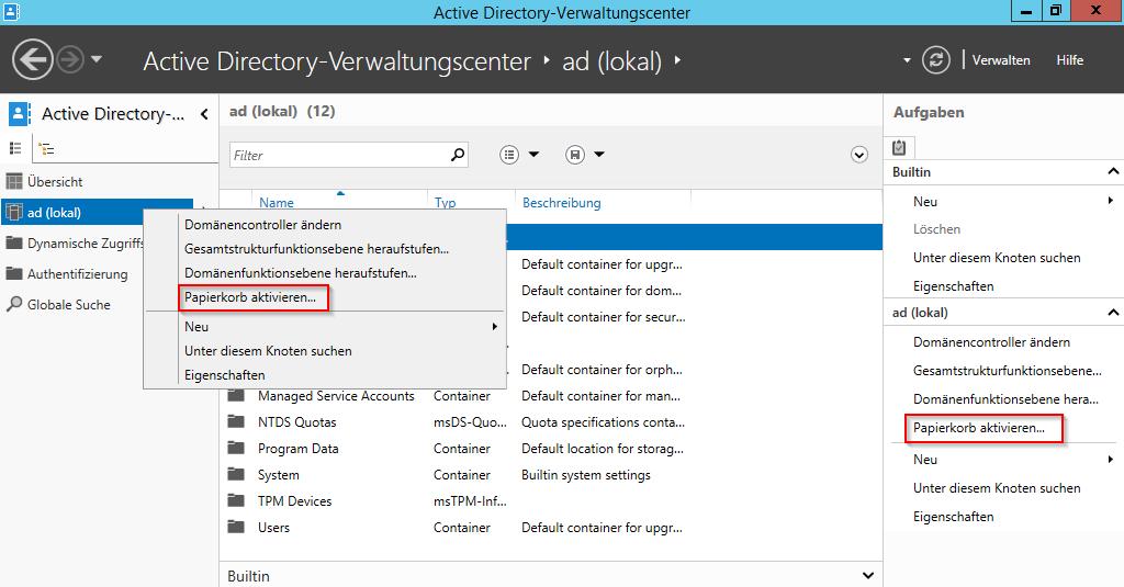Active Directory-Papierkorb aktivieren