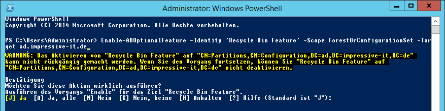 PowerShell-Befehl um den Active Directory-Papierkorb zu aktivieren