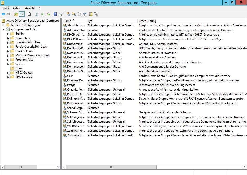 Active Directory-Benutzer und -Computer