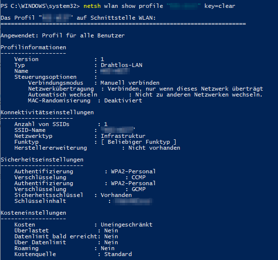 Mit diesem Cmdlet kann das WLAN Passwort einer gespeicherten WLAN-Verbindung angezeigt werden