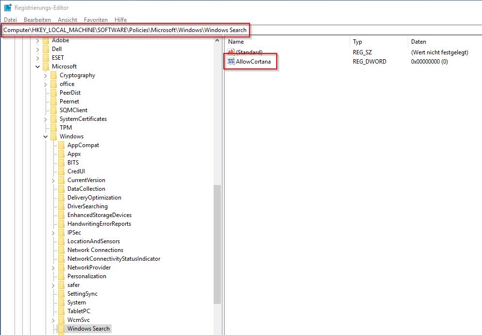 Cortana in der Registry deaktivieren
