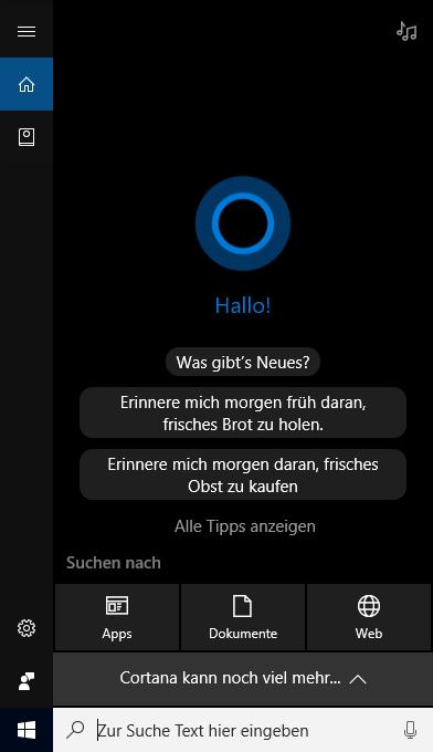 Cortana unter Windows 10