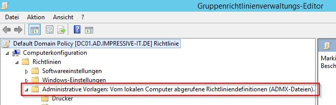 Administrative Vorlagen werden vom lokalen Computer abgerufen