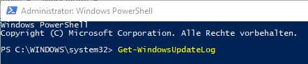 PowerShell-Befehl Get-WindowsUpdateLog