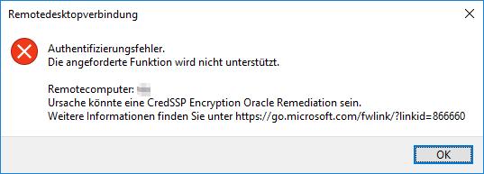 Authentifizierungsfehler. Die angeforderte Funktion wird nicht unterstützt.