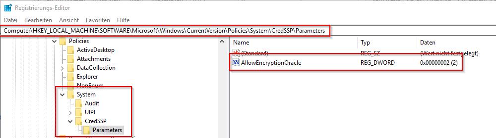 Ändere die Standardeinstellung in der Registry
