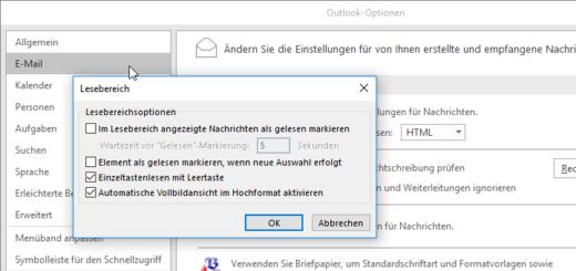 Outlook 2016: Mails nicht mehr automatisch als gelesen markieren