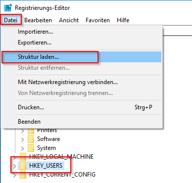 Klicke auf Datei > Struktur laden...